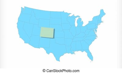 Colorado Map Zooms Out of USA - Colorado animated map video,...