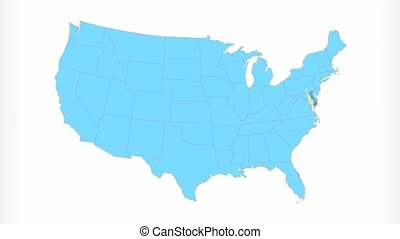 Delaware Map Zooms Out of USA - Delaware animated map video,...