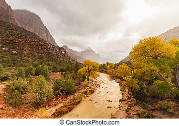 Virgin River and Watchman Zion N.P. in Fall