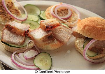 Pork belly sandwich preparation