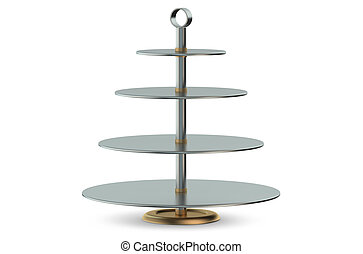 Cake Stand - Metallic Cake Stand isolated on white...