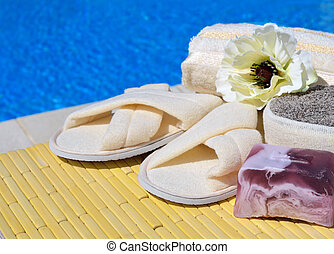 Natural bath sponges, bath slippers, handmade soap and...