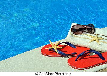 par, de, rojo, Cambia de dirección, gafas de sol, toalla,...