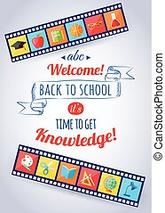 Back to school and education typographical background with...