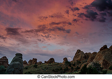 Morning Color Over Rock Formations in Arches - The sky...