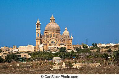 Okrąglak, w, Miasto, Xewkija, Na, Gozo, wyspa, malta,