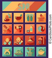 Set of spa and beauty flat icons. Healthcare salon, haircut, skin care, herbal therapy, cosmetics vector items.