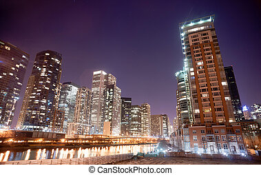 Inner Canal Waterway Downtown Chicago City Skyline - Night...