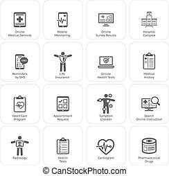 Medical & Health Care Icons Set.