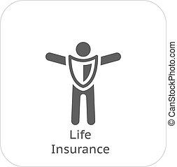 Life Insurance and Medical Services Icon. Flat Design....