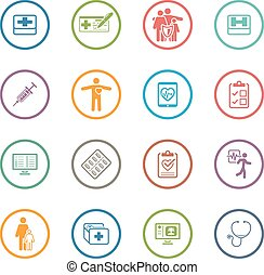 Medical and Health Care Icons Set Flat Design - Medical...