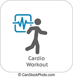 Cardio Workout and Medical Services Icon. Flat Design.