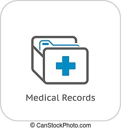 Medical Records and Medical Services Icon Flat Design...