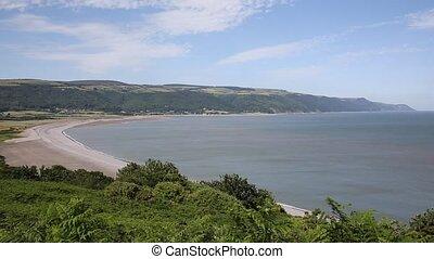 Porlock Bay Somerset England UK - Porlock beach Somerset...