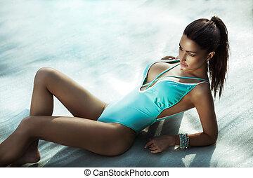 性感, 海灘, 黑發淺黑膚色女子, 美麗