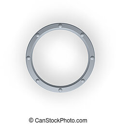 porthole - metal ring with rivets on white background - 3d...
