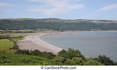 Somerset coast view to Porlock Weir on the edge of Exmoor...
