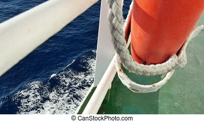 Sea Waves from the Deck of a Cruise - View of the waves from...