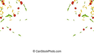 italian pasta animation, tomato and basil falling down on white background with space for text, loop seamless