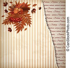 Autumn old background in scrap style, vector illustration