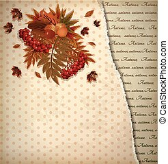 Autumn vintage background in scrapping style, vector...