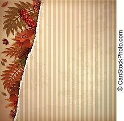 Autumn scrapbooking background in vintage style, vector...