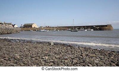 Minehead harbour Somerset sea level - Minehead harbour...