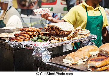 alimento, parrilla, calle, mexicano, delicioso