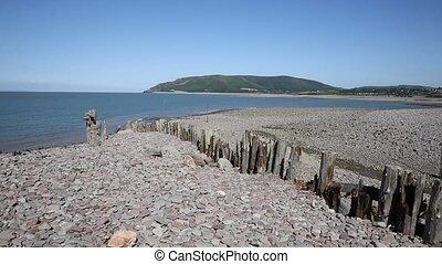Porlock Weir beach Somerset PAN - Porlock Weir beach...