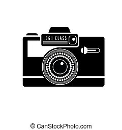 Black camera icon on white Stylish lineart illustration