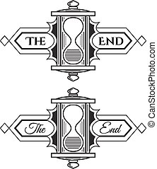 The end - The end, graphic element. Old vintage sign,...
