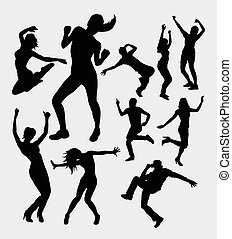 Male and female dancing silhouettes - Man and woman aerobic...