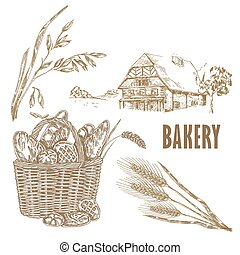 Hand drawn bread, farm house, oats, wheat. Vector...