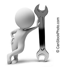 3d small people-wrench - 3d small people with a wrench. 3d...