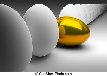 Gold egg in dropped out of a general series of usual eggs 3d...