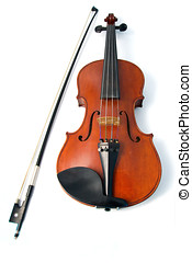 Isolated violin and bow in white - Isolated voilin and bow...