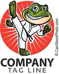 Taekwondo Frog Logo.eps - Vector Illustration of Cute Little...