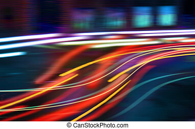 Hectic traffic - Color light beams made by heavy traffic in...