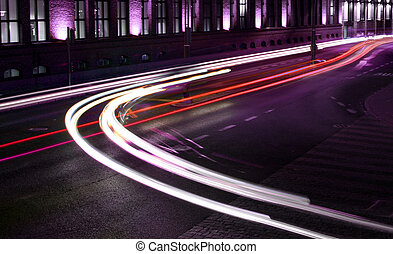 Lights of traffic - Beams of light made by street traffic in...