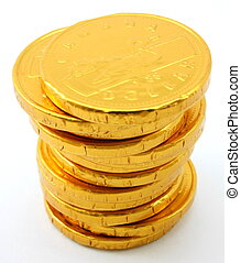 Single stack of chocolate gold coins