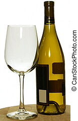 Bottle of chardonnay wine white and glass, isolated
