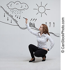 Woman drawing schematic representation of the water cycle in...