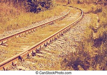 old railroad retro - Old Railroad Tracks Converging Into...