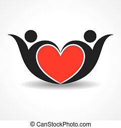 happy valentine day design - creative couple icon or happy...