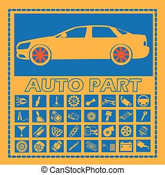 car part icons on blue square - Cars and car parts in a blue...