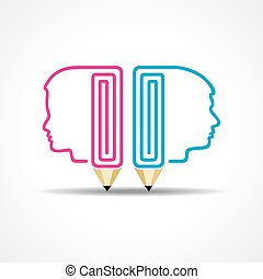 pencil with human head stock vector