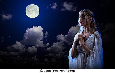 天空, 女孩, 小精靈, 背景, 夜晚