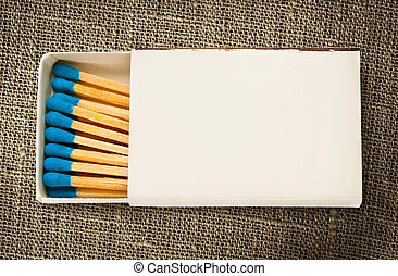 Blank box of blue matches in it