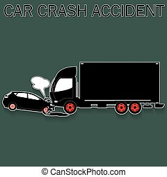 Truck and car crash - Car collides with truck in vector...