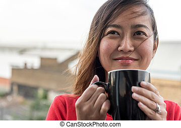 Asian Girl Drinking Coffee - Hip Young Asian Woman Drinking...